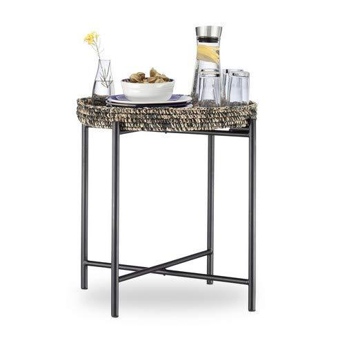 Relaxdays Beistelltisch, klappbar, Gestell, abnehmbares Tablett, Serviertisch, HxBxT: ca. 56 x 55 x 55 cm, Natur-schwarz