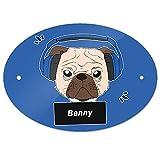Eurofoto Türschild mit Namen Benny und Mops-Motiv mit Kopfhörer in Blau für Jungen | Kinderzimmer-Schild