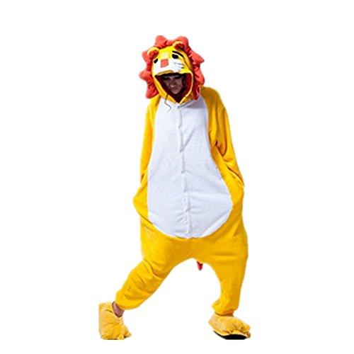 Rainbow Fox Einhorn Pyjama Erwachsene Unisex Cosplay Kostüm Tier Nachtwäsche Flanell Neuheit Halloween Weihnachten Kleider (M, Löwin)