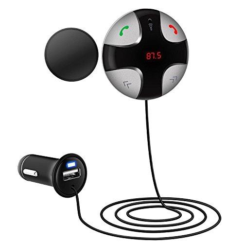 Trasmettitori FM,Upintek Car Hands-Free Kit Bluetooth trasmettitori radio senza fili Bluetooth Trasmettitore FM con slot per TF card LCD Display 2-Port USB Charger auto microfono integrato