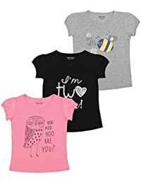 MINNOW Girl's Cotton Printed T-Shirt - Pack of 3