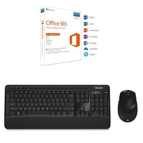 Microsoft Office 365 Home 5PCs/MACs - 1 Jahresabonnement + Microsoft Wirless Desktop 3050 (Set mit Maus und Tastatur, deutsches QWERZ Tastaturlayout, kabellos)