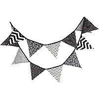 Riverry Tela Especial de algodón Blanco y Negro de 12 Banderas, banderín Bandera de Banderas, atmósfera cómoda de algodón Boda de Guirnalda, Baby Shower, decoración de Fiesta de Carpa al Aire Libre