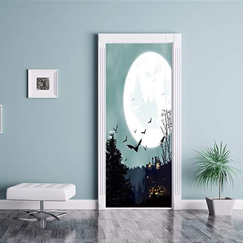 er Kürbis gruselig Poster Wandbild Tapete Stereo Home Hintergrund Schlafzimmer Türdekoration selbstklebend PVC selbstklebend Stereo er 77x200cm ()