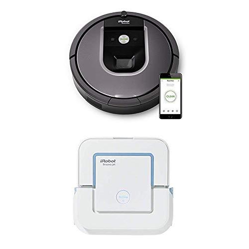 IRobot Roomba 960 Saugroboter, App-Steuerung (hohe Reinigungsleistung, keine Verhedderungen und mit Dirt Detect, WLAN-fähig) silber + Braava jet 240 Wischroboter (für Küchen) weiß