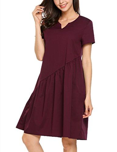 b4297ac0b01244 Bricnat Damen Kurzarm Kleid mit Falten V-Ausschnitt Strandkleid Locker A- Linie Sommerkleid Casual