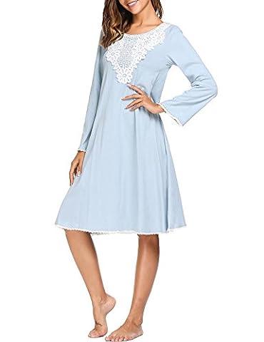 pyjama damen lang kleid negligee baumwolle spitze pyjama cotton Blau 38