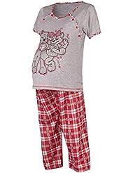 Happy Mama. Femme pyjama de nuit. Nuisette grossesse allaitement à imprimé. 191p