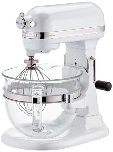 Kitchenaid 5KSM6521XEFP Artisan Küchenmaschine Glas Schüssel Frosted, Pearlweiß (220 Kitchen Aid Artisan Volt)