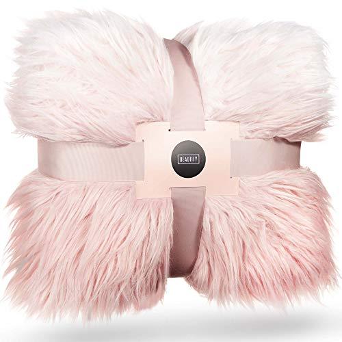 Beautify Kuscheldecke aus Mongolischem Fell-Imitat Ombre Pink Decke – Luxuriös, weich, Kunstfell – 160 x 130 cm – Stylisches Accessoire für Sofas, Schlafzimmer & Wohnzimmer