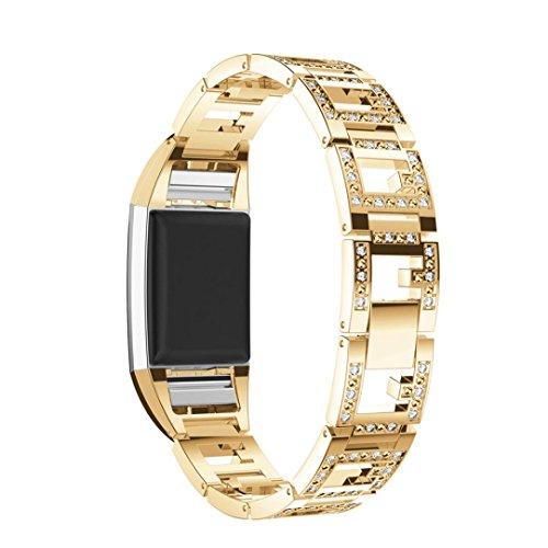 Y56 Uhrenarmband aus Edelstahl für Fitbit Charge 2 Ersatz Armband Band Armband Mode Luxus Uhr Armband Handgelenk Band Strap (Gold)