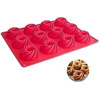 SveBake - Stampo in silicone per 12 mini ciambelle, con rivestimento antiaderente, 32 x 25 x 3 cm, colore: rosso