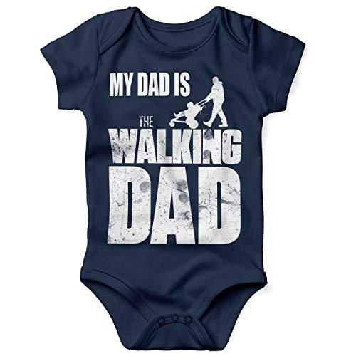 t Spruch für Jungen Mädchen Unisex Kurzarm My Dad is The Walking Dad | handbedruckt in Deutschland | Handmade with Love, Farbe:Navy, Grösse:62 ()