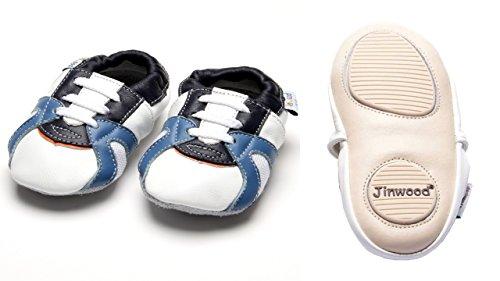 Jinwood - trainer white - mini shoes - Sport - Hausschuhe - Lederpuschen - Krabbelschuhe - by amsomo White