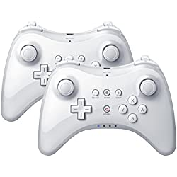 2X QUMOX Manette sans Fil Bluetooth Jeu Joystick pour Nintendo Wii U Blanc