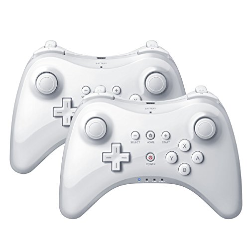 QUMOX 2x Wireless Controller Gamepad Joypad Fernbedienung für Nintendo Wii U Pro, Weiß
