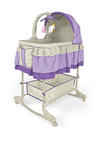 Best For Kids Wiege Stubenbett 4 in 1 Schaukelwiege Babybett mit Melodie, Vibration, Licht, Nachtlampe und Schaukel mit Fernbedienung in zwei Farben zur Auswahl. PRIMA (Violett)