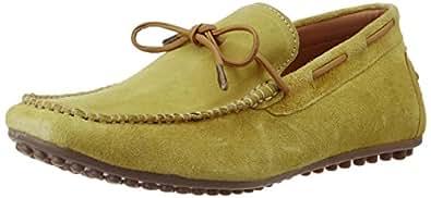 BATA Men's Aivici Olive Leather Boat Shoes- 7 UK/India (41 EU) (8533170)