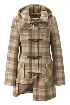Womens Checked Short Duffle Coat -- Camel -- 22