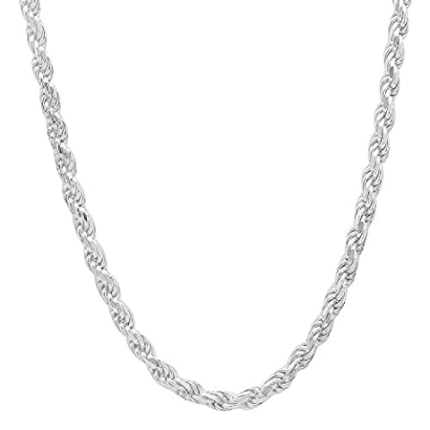 3.2mm Solid 925 Sterling Silver Diamond-Cut Rope Link Italian Chain, 24