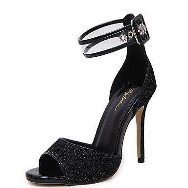 pwne Donna Sandali Scarpe Club Pu Abiti Estivi Sequin Stiletto Heel Oro Nero 4A-4 3/4In Nero Us8 / Eu39 / Uk6 / Cn39 US8.5 / EU39 / UK6.5 / CN40