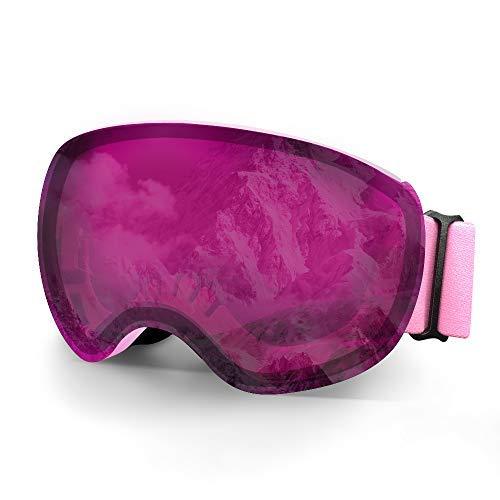 Occhiali da sci, MeeQee Occhiali sportivi da neve per uomo donna e bambino, Anti-fog 100% UV Casco protettivo Occhiali da snowboard per sci Snowboard e moto, Verde