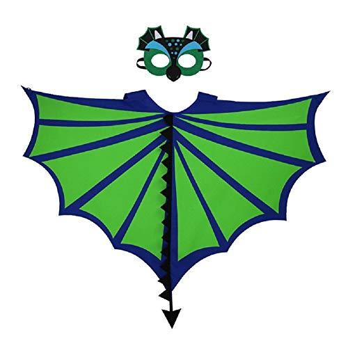 LOLANTA Kinder Kostüm Dargon, Dinosaurier-Flügel, Umhang mit Masken-Sets, 2 - Pterodactyl Kostüm Kind