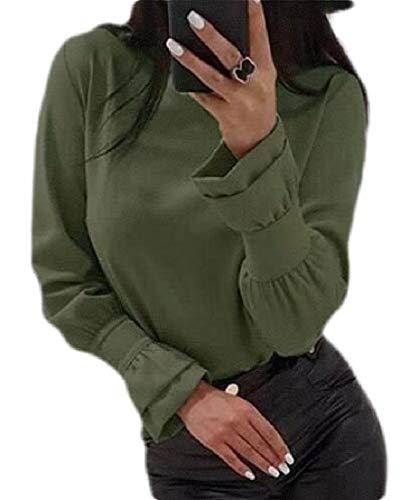 ShuangRun Women's Puff Sleeve Round Neck Long Sleeve Plain Tee Pullovers Tops 1 L -