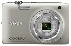 Nikon Coolpix S2800 20.1MP Point and Shoot Camera (Silver) with 5x Optical Zoom, Memory Card and Camera Case