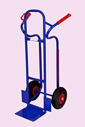 Sackkarre, Gleitkufen 250 kg, 111x50x53 cm, blau (Vollgummi) (Transportkarre Stapelkarre Handkarre) (Sackkarre Vollgummibereifung)