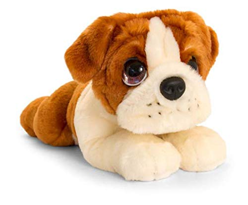 Lashuma Plüschtier Keel Toys Animale di peluche Cane Bulldog, animale da coccolare sdraiato di 30 cm circa insieme al burro per il corpo, 7ml