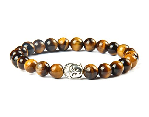 Good.Designs Buddhismus Perlenarmband aus Echten Natursteinen und Edler Buddha-Kopf Perle, Chakra-Schmuck für Damen und Herren, Yoga-Bracelet (Tigerauge)
