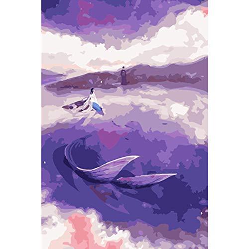 FULLLUCKY Malen Nach Zahlen DIY Lila Traum Meerjungfrau Abbildung Leinwand Hochzeit Dekoration Kunst Bild Geschenk -