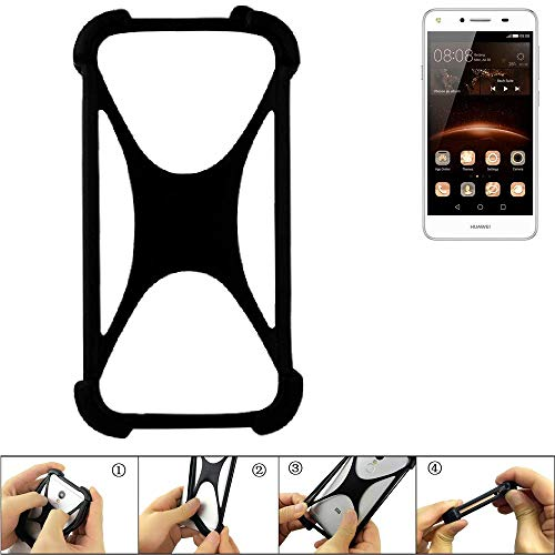 K-S-Trade Handyhülle für Huawei Y5 II Single SIM Schutz Hülle Silikon Bumper Cover Case Silikoncase TPU Softcase Schutzhülle Smartphone Stoßschutz, schwarz (1x)