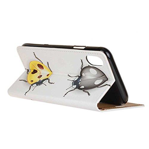 Coque Pour iPhone X, Coloré Motif PU Cuir portefeuille Housse Etui pour iPhone X Case Coque Protection Flip Cover avec carte de crédit Slots (KW-14#) KW08#