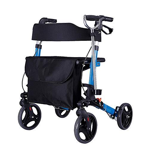 HYJ Andadores Ancianos Rueda de Aluminio de Cuatro Ruedas Rollator de Viaje con andadores de Asiento para Personas Mayores