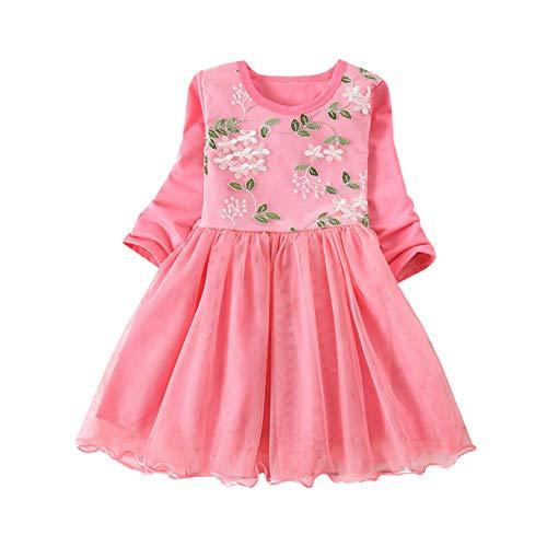 Baby Kleider für Mädchen Langarm Blumenkleid Prinzessin Solide -