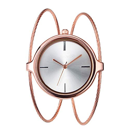 Armbanduhr Damen Quartz Analog Uhren Stahlband Langlebig Modische Armreif Schmuck(Roségold)
