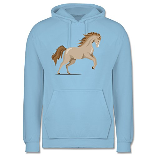 Pferde - steigendes Pferd - Herren Hoodie Hellblau