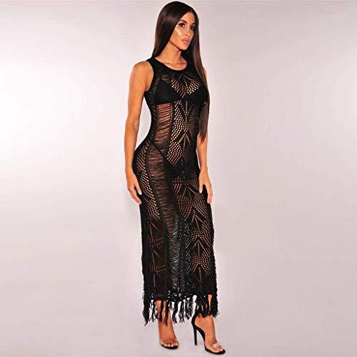 Europäischen und amerikanischen Frauen 's Quaste Kleid Hand Haken Pullover Bikini Badeanzug Bluse weiblich (Farbe: schwarz, Größe: M) -