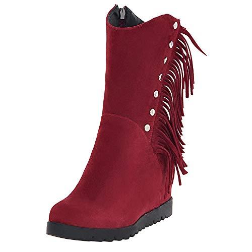 TUDUZ Damen Langschaftstiefel Round Toe Wedges Quaste Schuhe Middle Tube Stiefel Reißverschluss Suede Schneestiefel