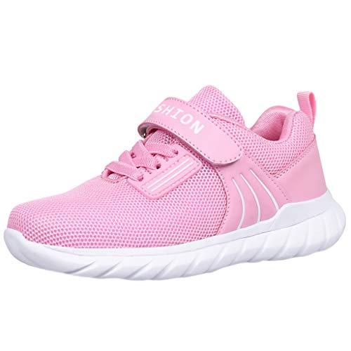 HDUFGJ Kinder Sneaker Sportschuhe Mesh Atmungsaktiv Laufschuhe Outdoor Turnschuhe Klettverschluss Wanderschuhe für Jungen Mädchen35 EU(Rosa)
