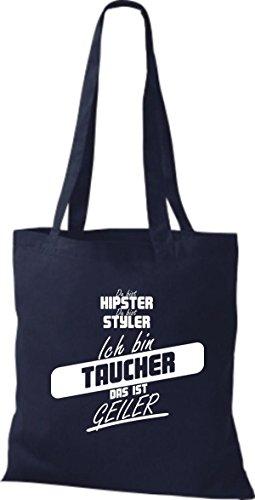 Shirtstown Stoffbeutel du bist hipster du bist styler ich bin Taucher das ist geiler navy