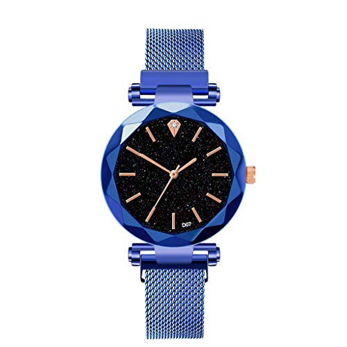 Neuer Trend  Fashion Damen Analog Quarzuhr Armbanduhren mit Mesh Armband Magnetband Sternenklarer Himmel Simulierter Diamant Dial Armbanduhr Frauen LEEDY - Uhren Ebel Diamanten Damen