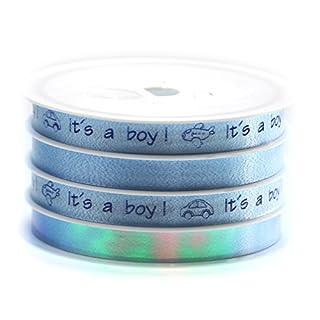 Premium Geschenkband Geburt Taufe Spule 24 m 4 Geschenkbänder auf Spule Kräuselband Geschenke (hellblau)