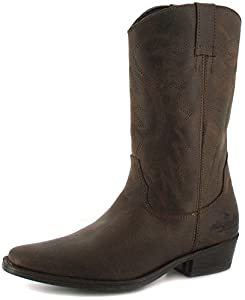 Slip on Dark Brown Leather Cowboy Boots by Wrangler