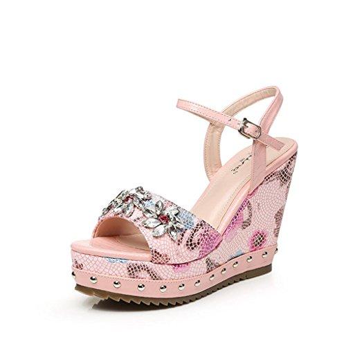 Bailing Pink Ladies Sandálias De Verão / Cunha Calcanhar Impermeável Strass Impressão De Terra Grossa Sapatos Tamanho Pequeno