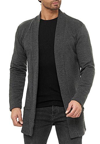 Red Bridge Herren Cardigan Jacke Sweat-Jacke Sakko Long Cut Anthrazit L