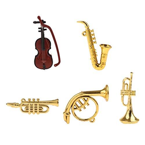 MagiDeal 5pcs 1/12 Dollhouse Miniatura Modelo de Instrumento Musical Juguete Regalo para Niños