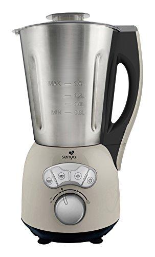 Blender chauffant Inox, mixeur soupe veloutée/moulinée, cuisson vapeur,  glace pilée gaspachos compotes coulis jus smoothies milkshakes, bol en Acier Inoxydable 1,5L, 1150W